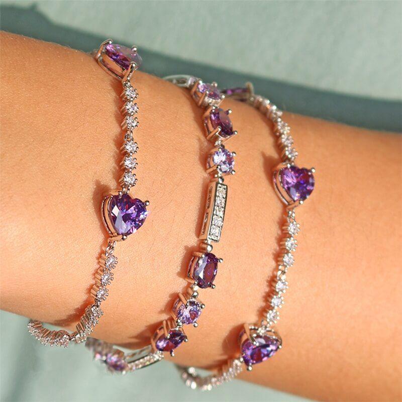 Pulseira Riviera com Três Corações em cristais lilás e zircônias em Ródio