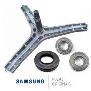 Kit Eixo Lava E Seca Samsung 1 Retentor 2 Rolamento Original