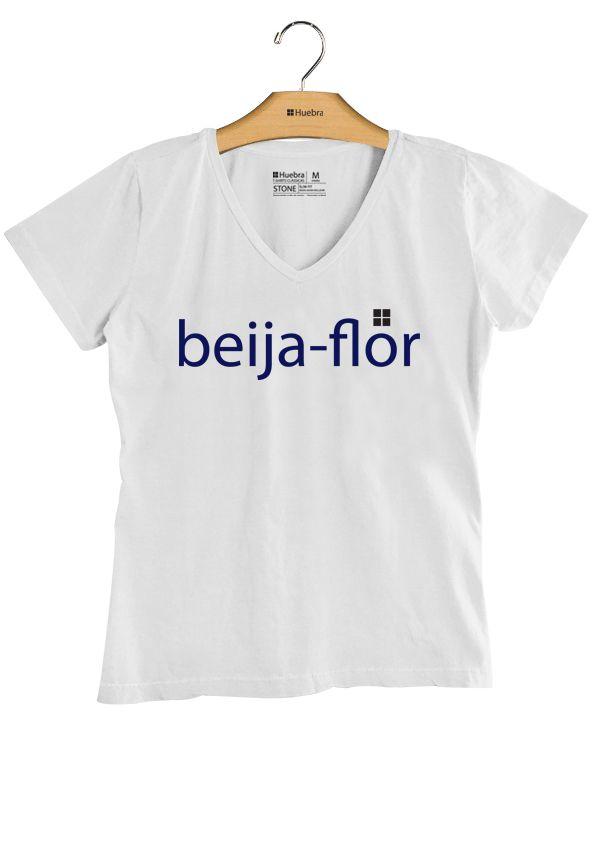 T-Shirt Feminina Gola V Beija Flor