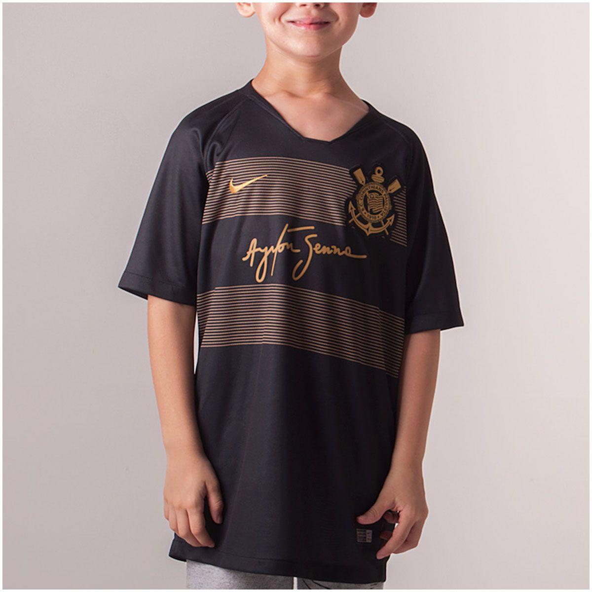 Camisa Corinthians III Nike Senna 2018 19 Infantil 88004901fde89