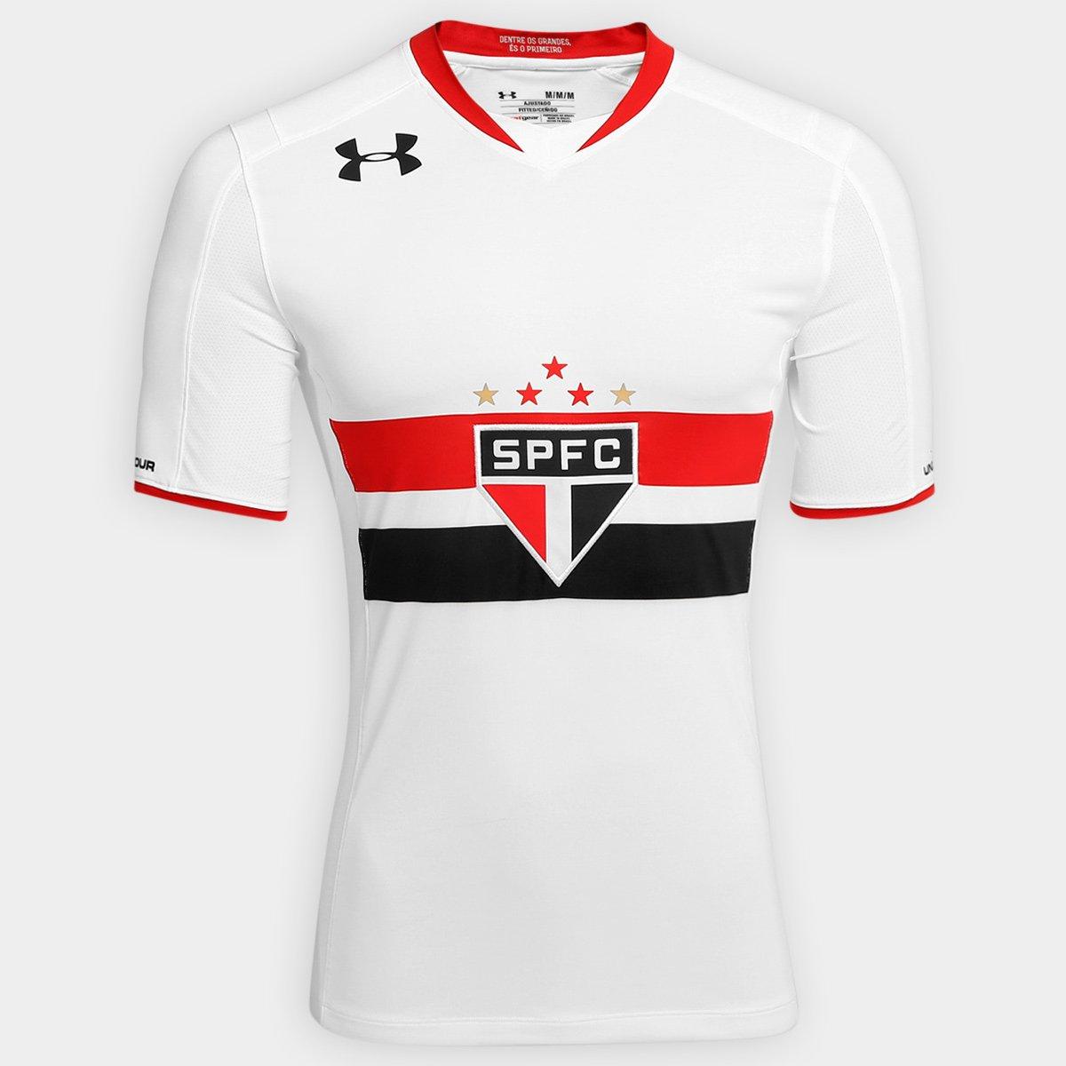 Camisa São Paulo Oficial Under Armour Masculina Branca+Vermelho