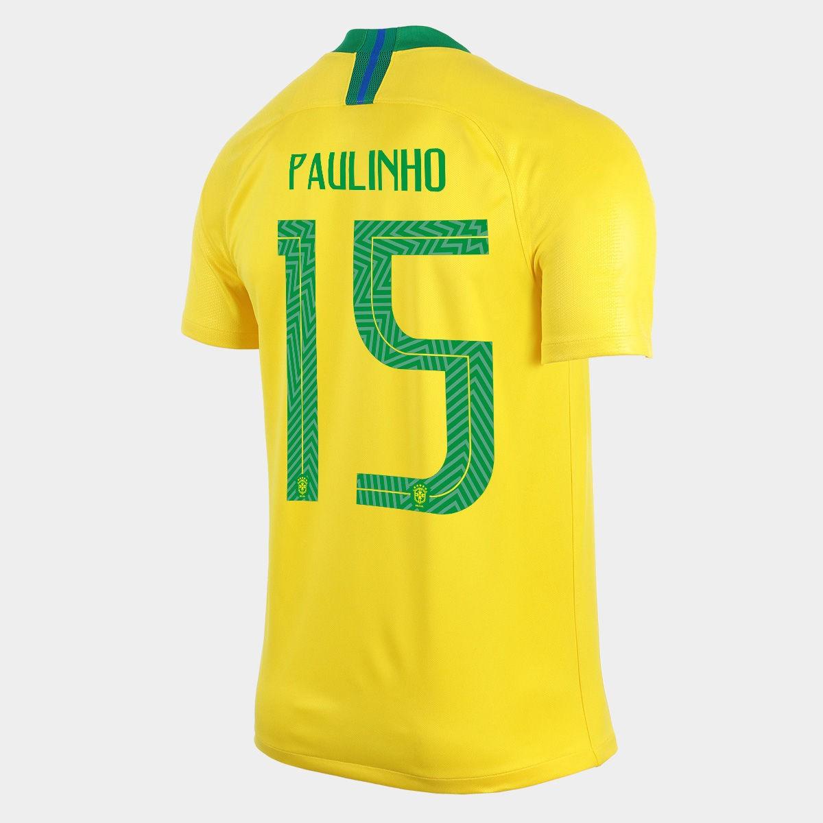 44a1610e54 Camisa Seleção Brasileira I 2018 N°15 PAULINHO