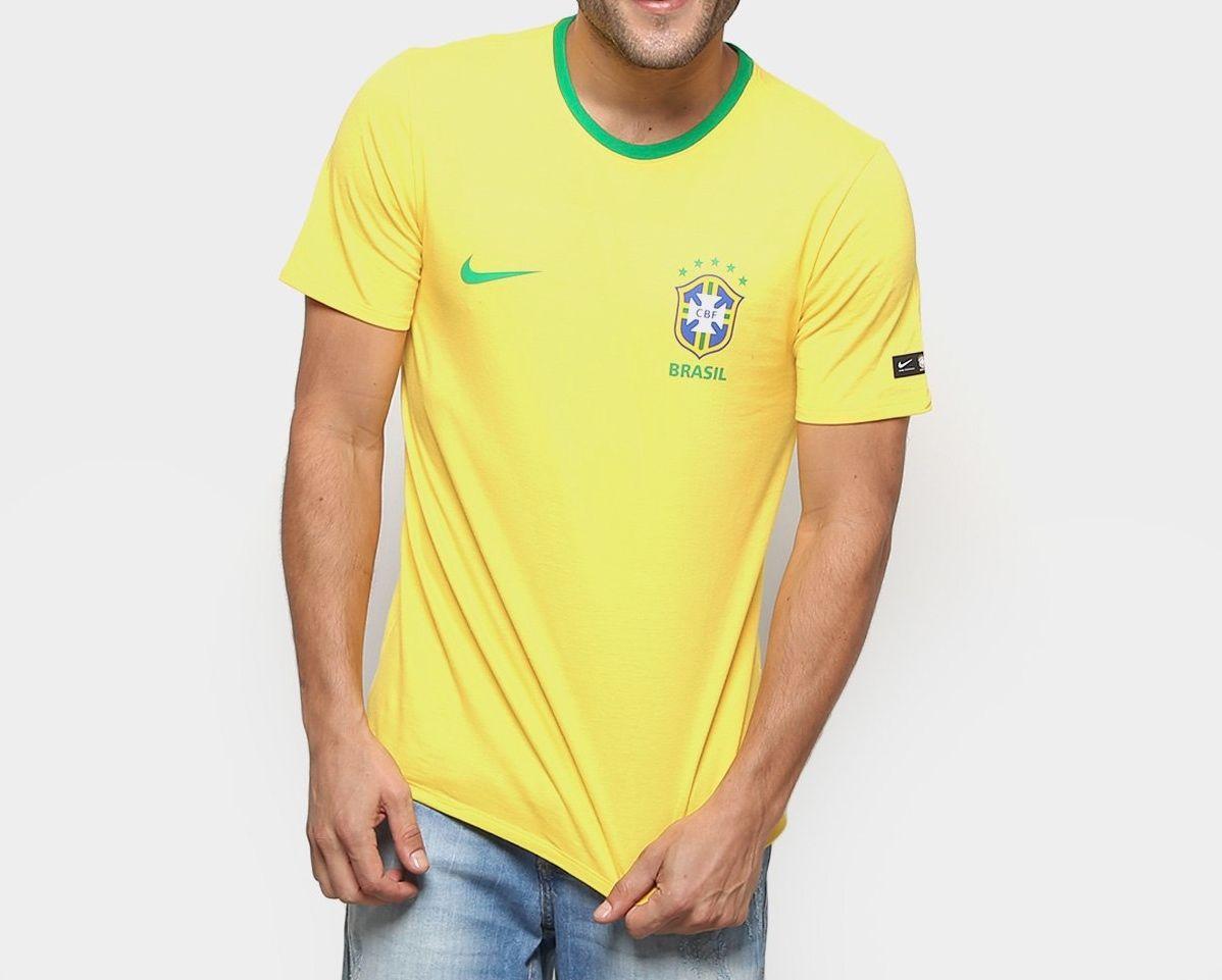 Camiseta Brasil Nike Crast 2018 Amarela c6f5eaa848e40