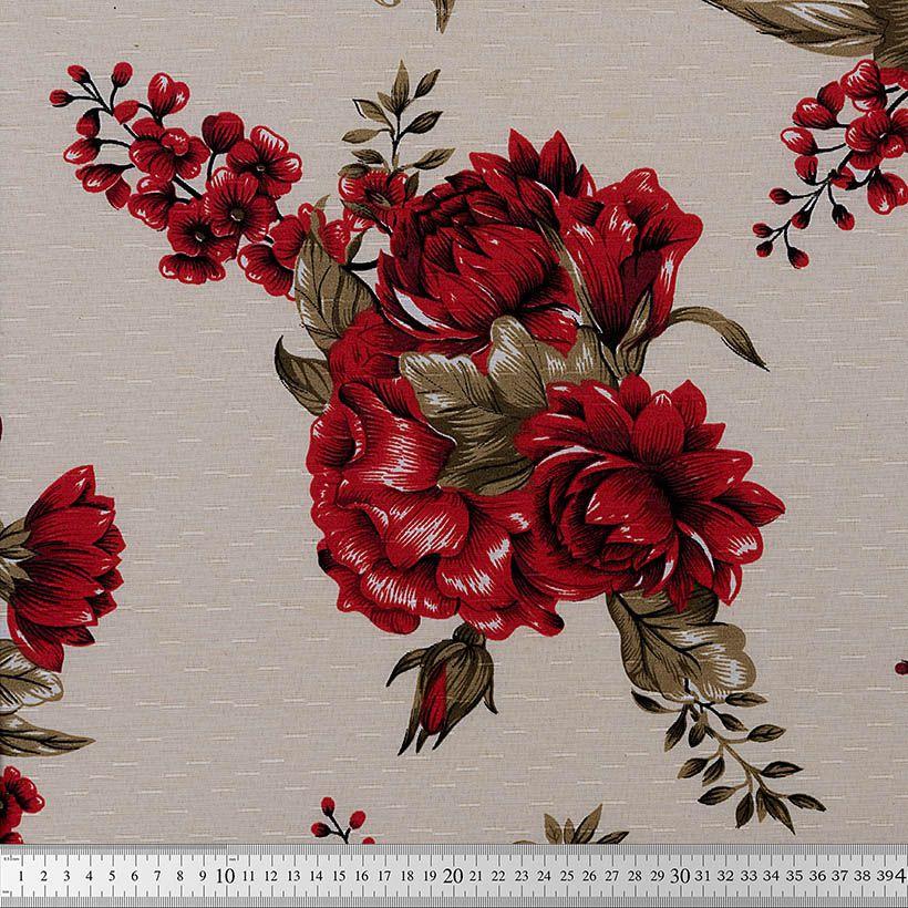 TECIDO GORGURINHO MAQUINETADO  1,50 LARG. - FLOWERS VERMELHO COR 96