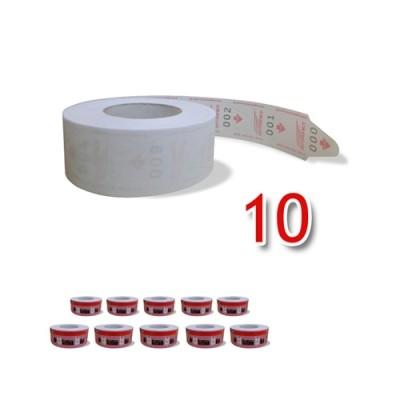 10 Bobinas de senha para dispensador
