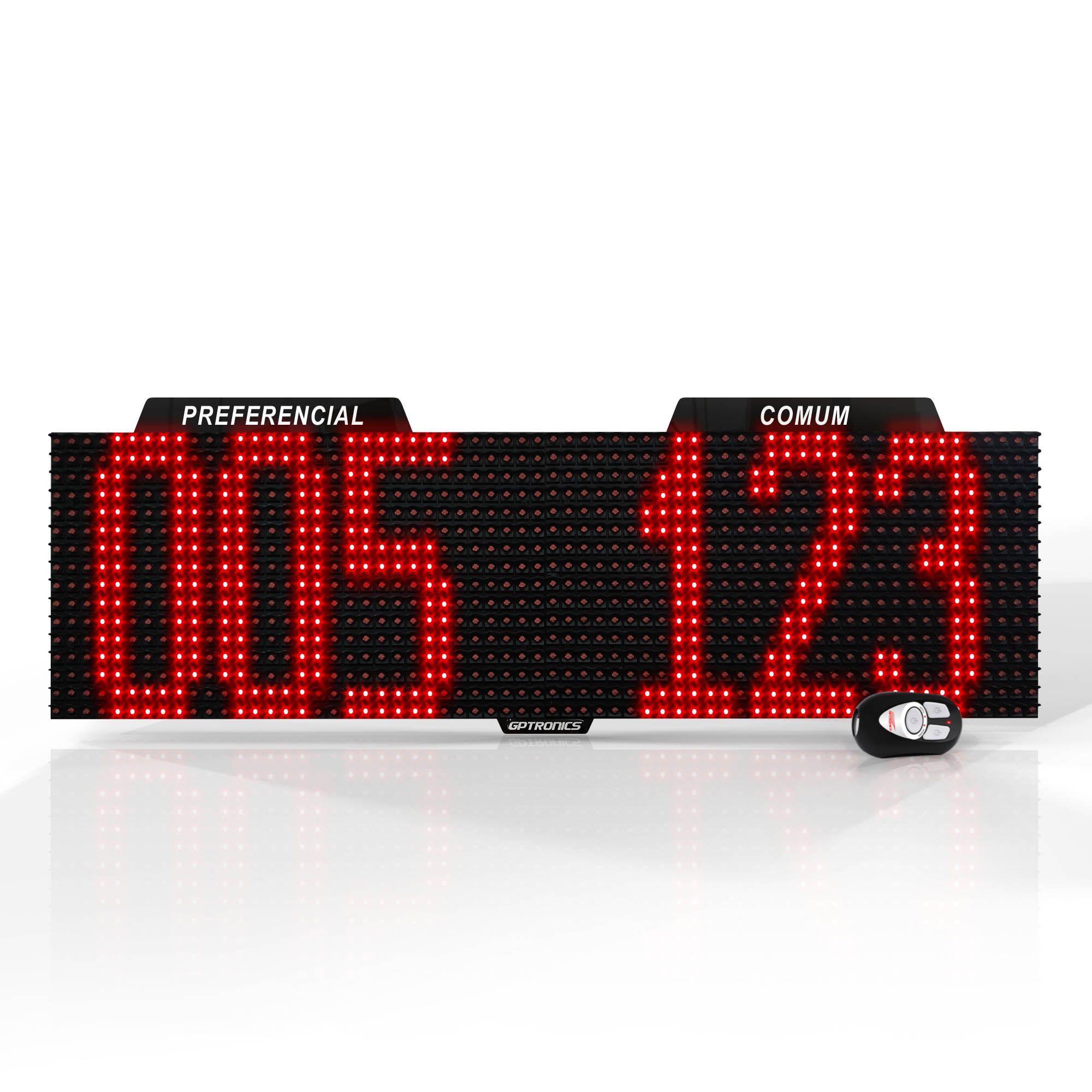 Agilize Full SD - Painel de Senhas Duplo com Mensagem - 64x16x4cm