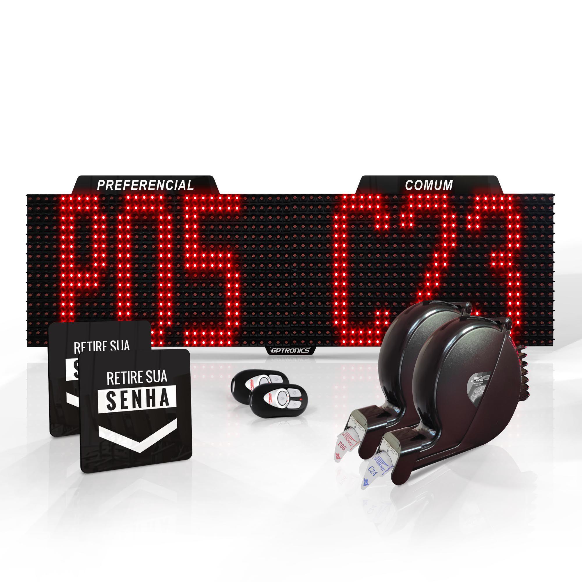 Agilize Full SD - Painel de Senhas Preferencial e Comum com Mensagem e 2 Dispensadores - 64x16x4cm