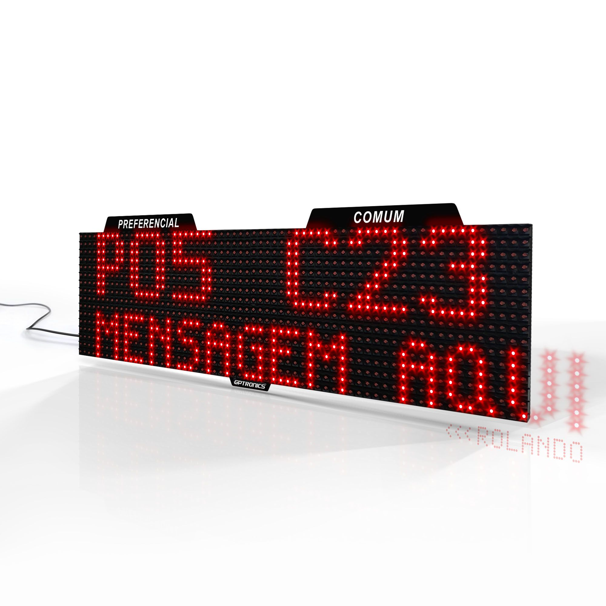 Agilize Full SD - Painel de Senhas Duplo com Mensagem e 2 Dispensadores - 64x16x4cm