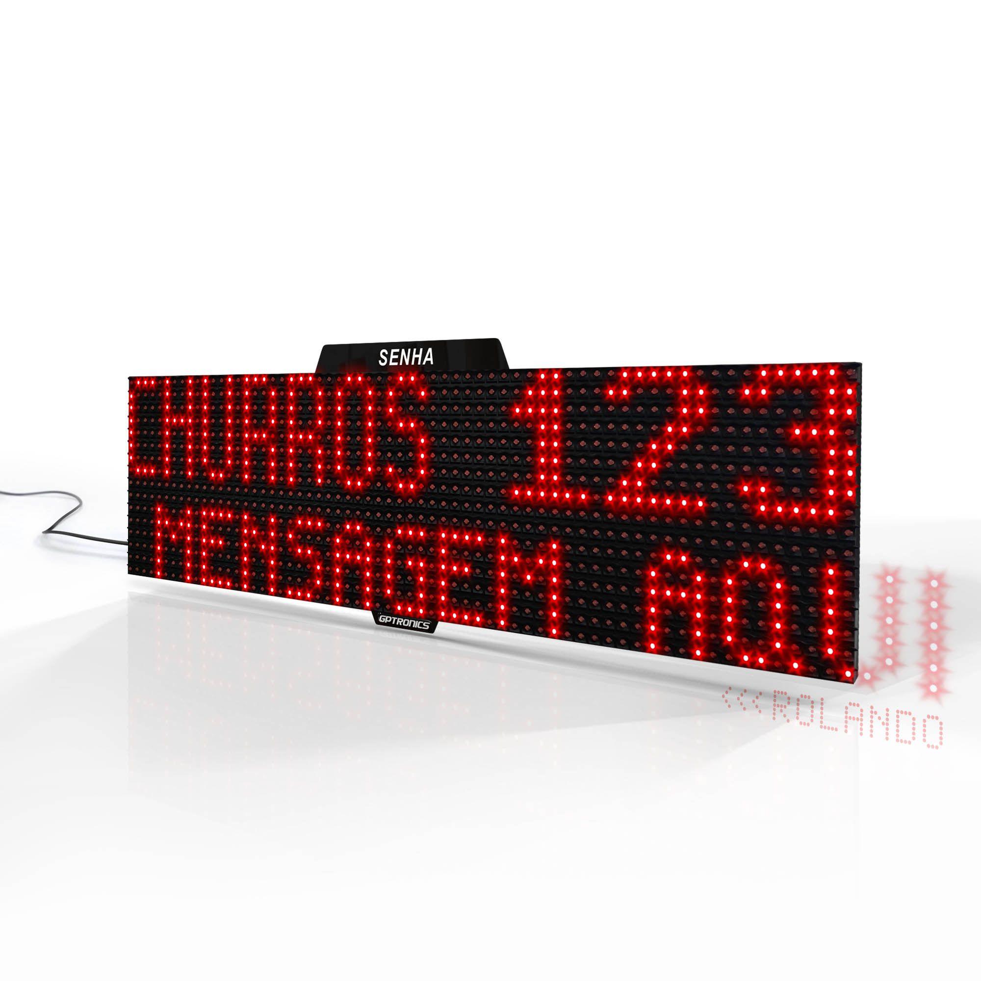 Agilize Full ST - Painel de Senha com Texto e Mensagem - 64x16x4cm