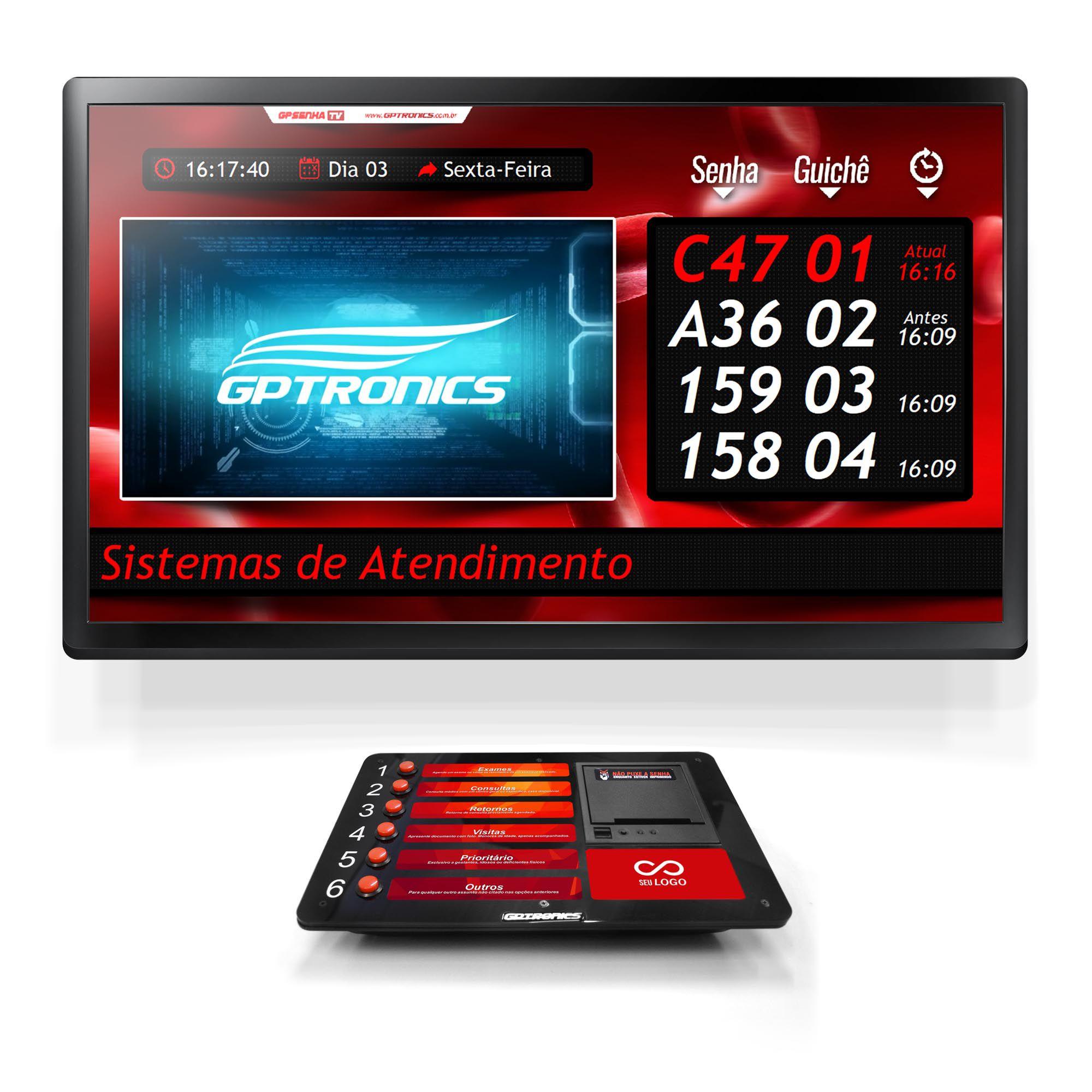 Multi Agilize TV com Impressora de Senhas Print602 + Softwares GPSenha e GPSenhaTV
