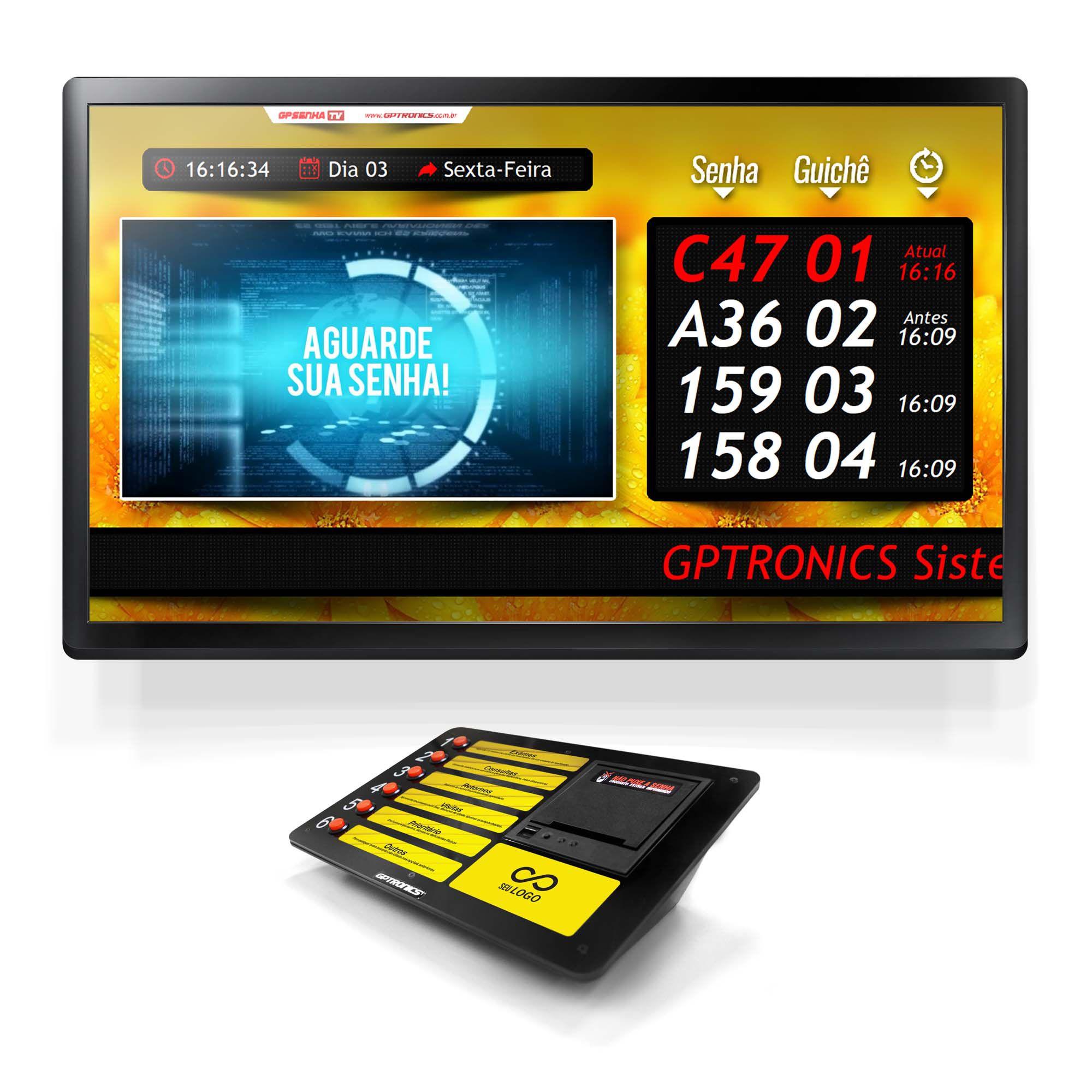 Multi Agilize TV com Impressora de Senhas Print602 + Totem + Softwares GPSenhaTV e GPSenha