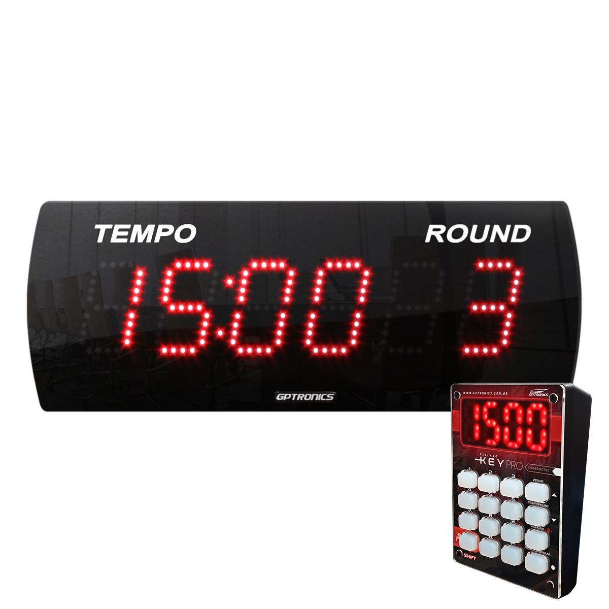 Painel Relógio Cronômetro LEDTime 625 N - com Teclado Key Pro - 38x14CM
