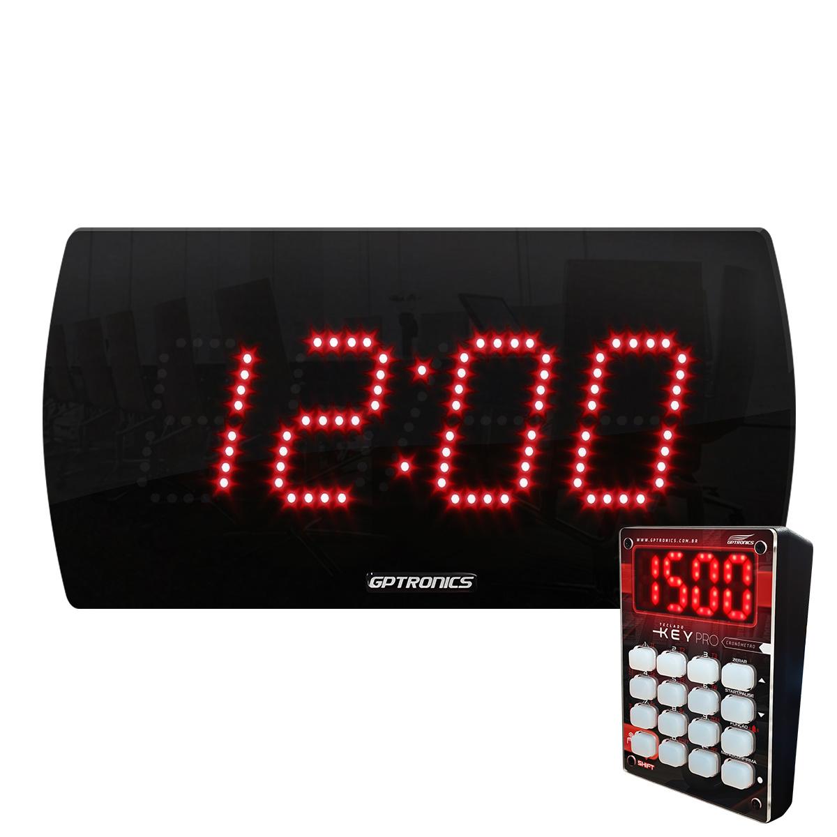 Painel Relógio Cronômetro LEDTime 25 N - com teclado Key Pro - 28x14CM
