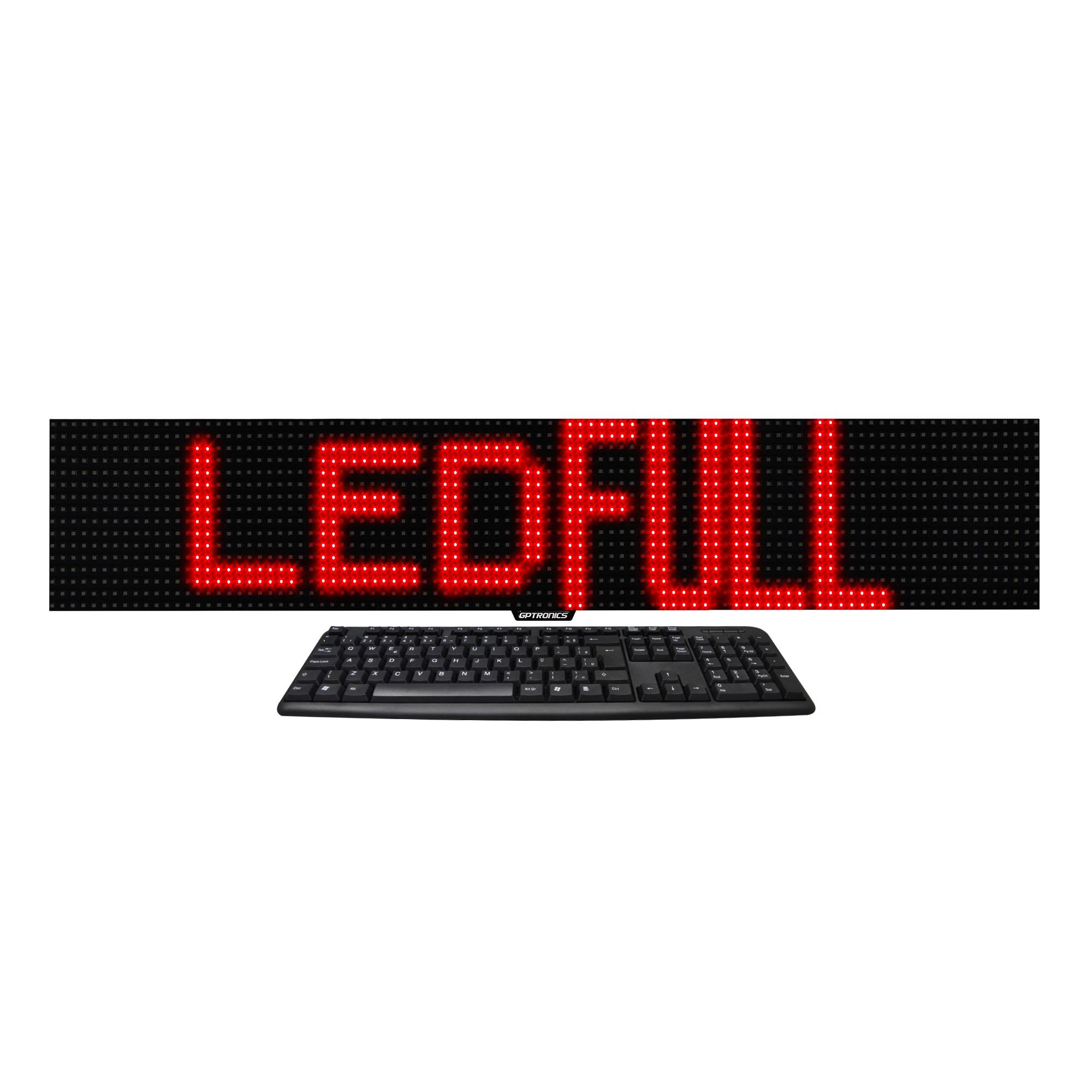 Painel de Mensagens LED Full M3 Vermelho (Uso Interno) - 96x16 cm