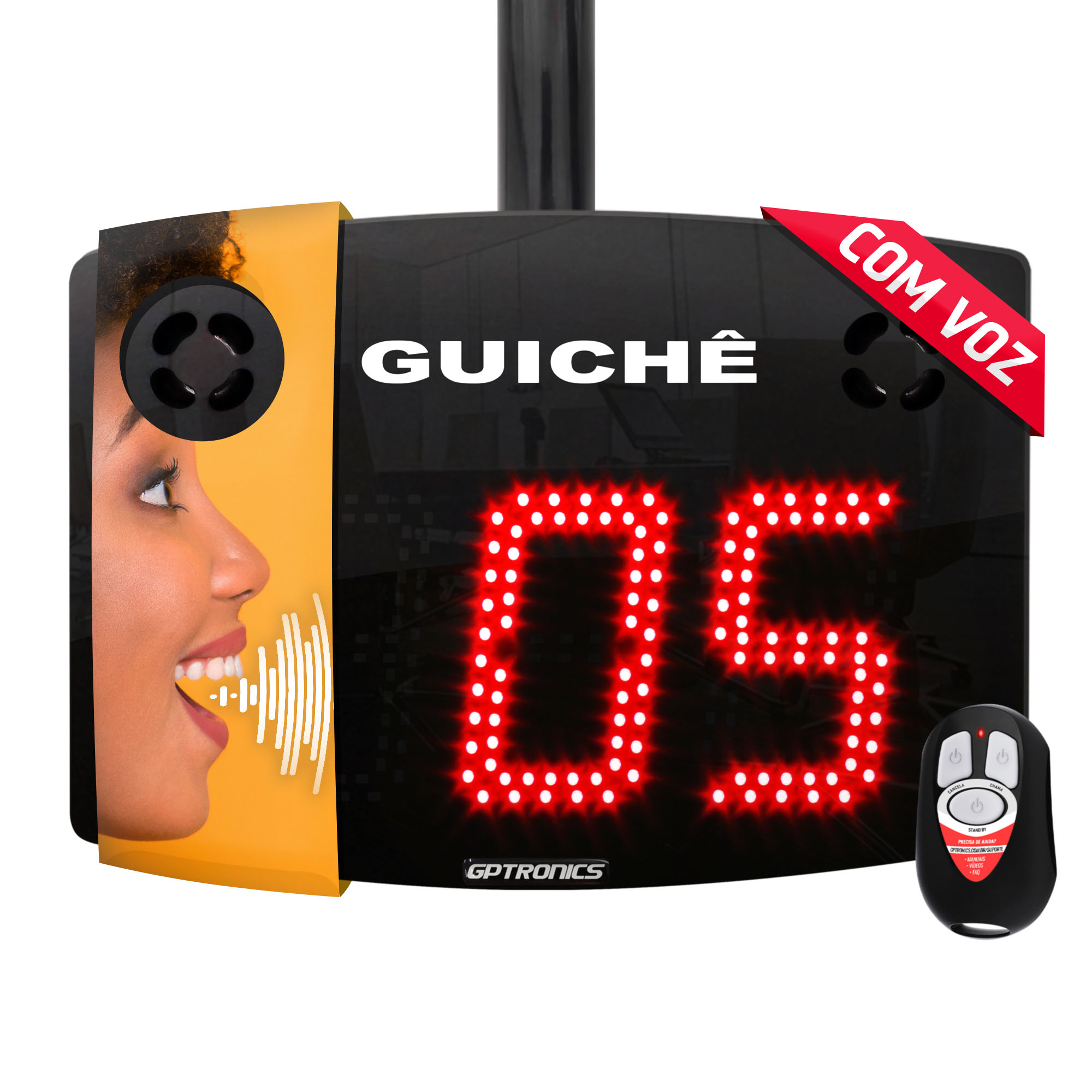 Painel Guichê com voz Agilize Vox 40 G com 2 Controles WI - 28,5x22 cm