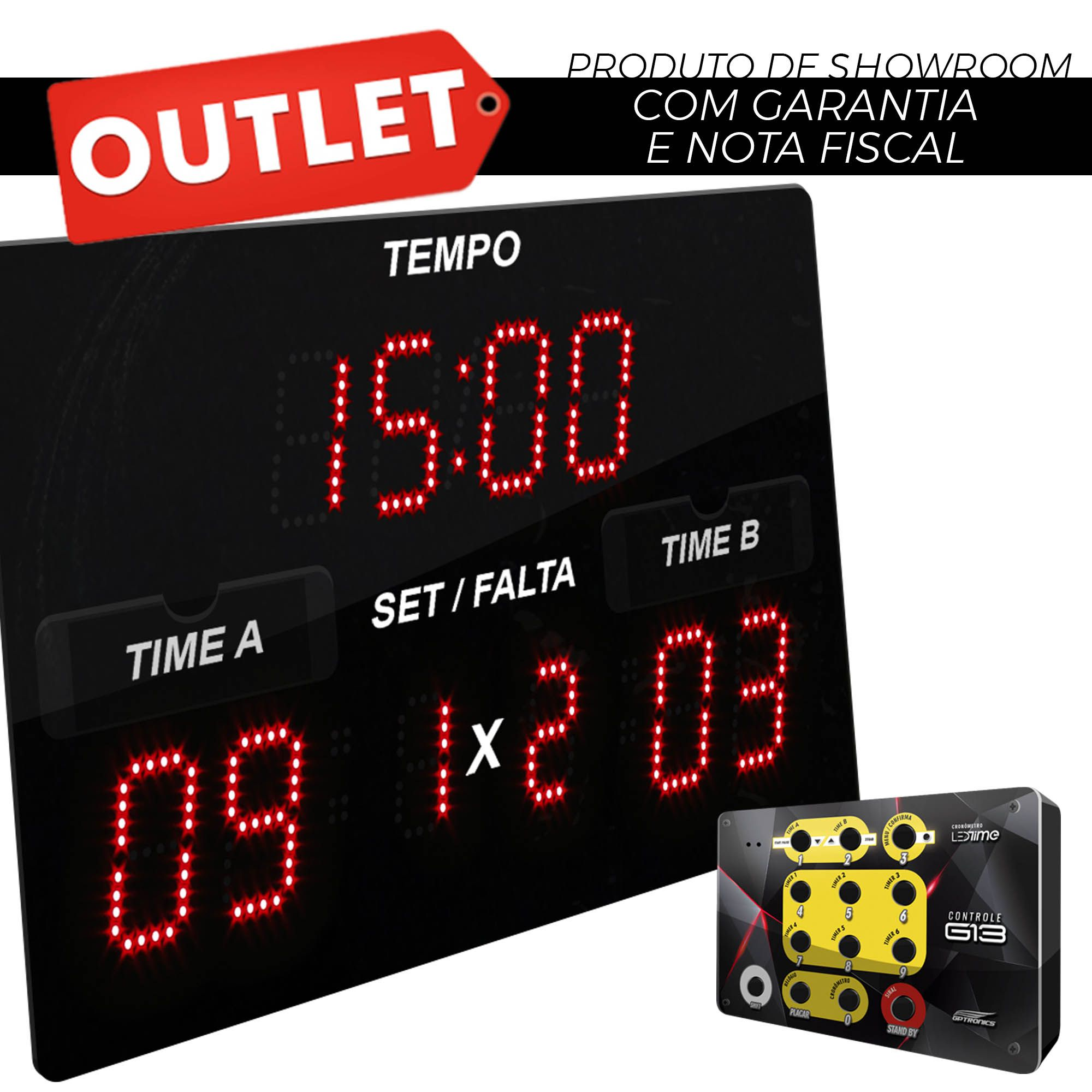 Painel LEDTime Sports X3 - Poliesportivo - 42x25cm - Outlet
