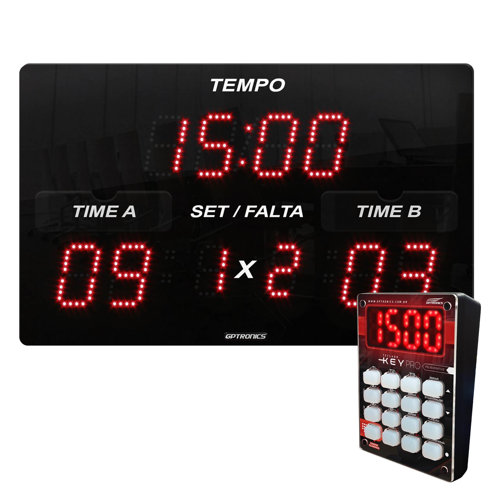 Painel Placar Poliesportivo LEDTIME SPORTS X3N - com Teclado Key Pro - 42X25CM
