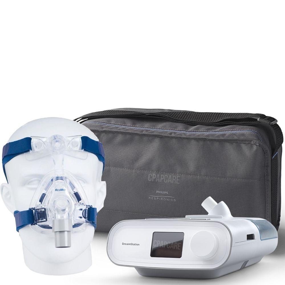 (COMBO) CPAP (Automático) DreamStation + Umidificador + Máscara Mirage Activa LT