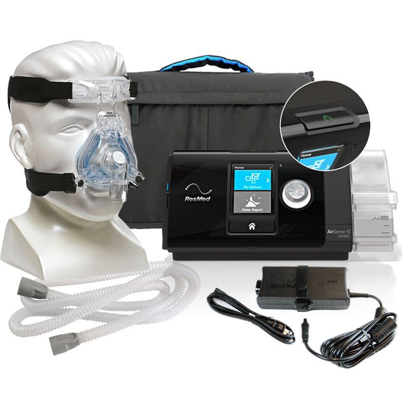 CPAP AirSense S10 Autoset com Umidificador Integrado Resmed + Máscara Nasal ComfortGel Blue