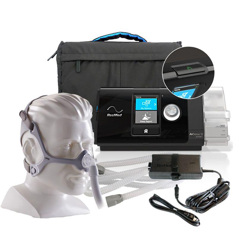 CPAP Automático AirSense 10 AutoSet com Umidificador Resmed + Máscara Nasal Wisp Philips Respironics