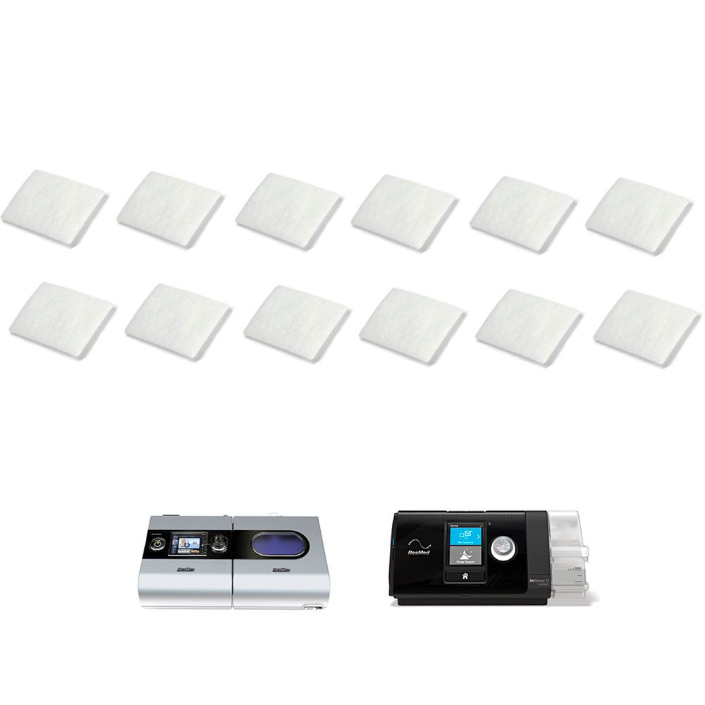 KIT ANUAL Filtro Nacional VentCare para CPAP e VPAP S9, AirSense 10, VPAP AirCurve Resmed (12un)