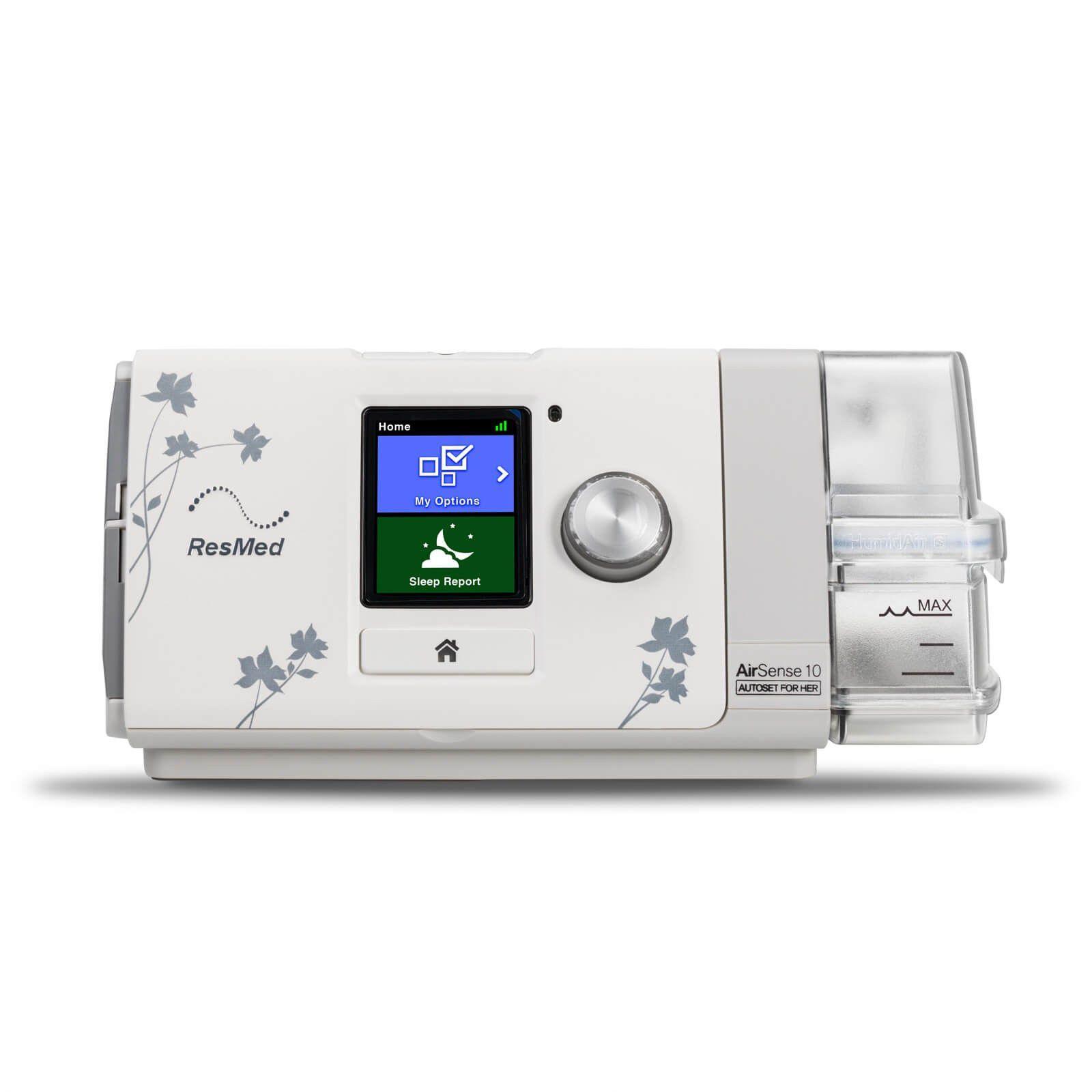 Kit CPAP Automático AirSense 10 AutoSet For Her + umidificador + Máscara Nasal Wisp