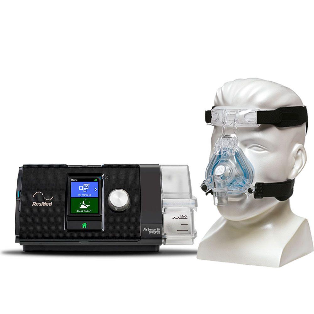 Kit CPAP Automático Airsense 10 AutoSet Resmed + Umidificador + Máscara Nasal ComfortGel Blue Philips Respironics