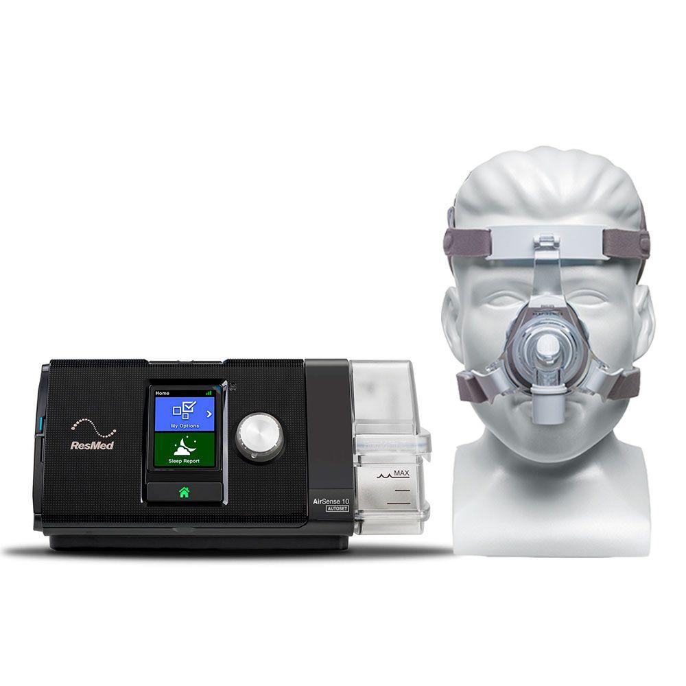 Kit CPAP Automático AirSense 10 AutoSet Resmed + Umidificador + Máscara Nasal TrueBlue Philips Respironics