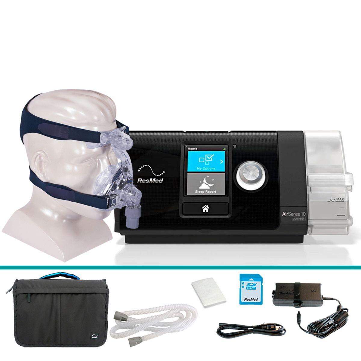 Kit CPAP Automático AirSense 10 AutoSet + Umidificador + Máscara Nasal Activa LT Resmed