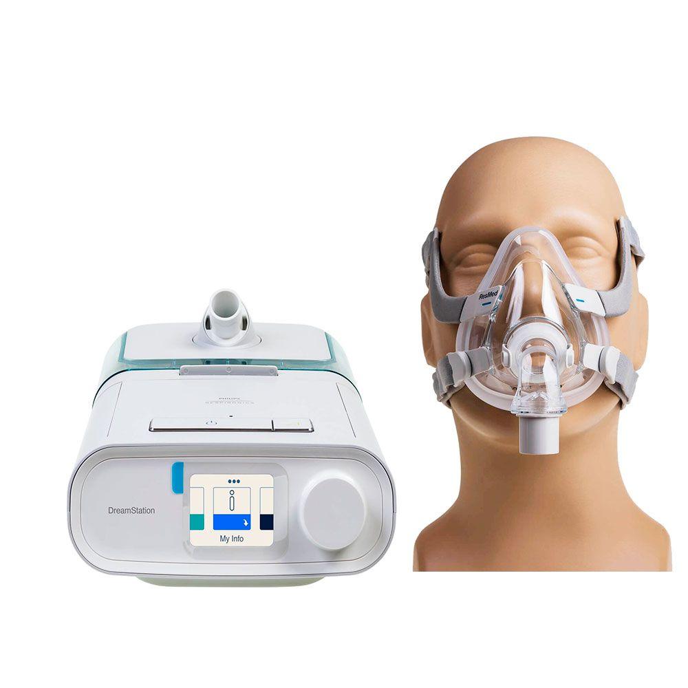 Kit CPAP Automático DreamStation + Umidificador + Máscara AirFit F20 Resmed