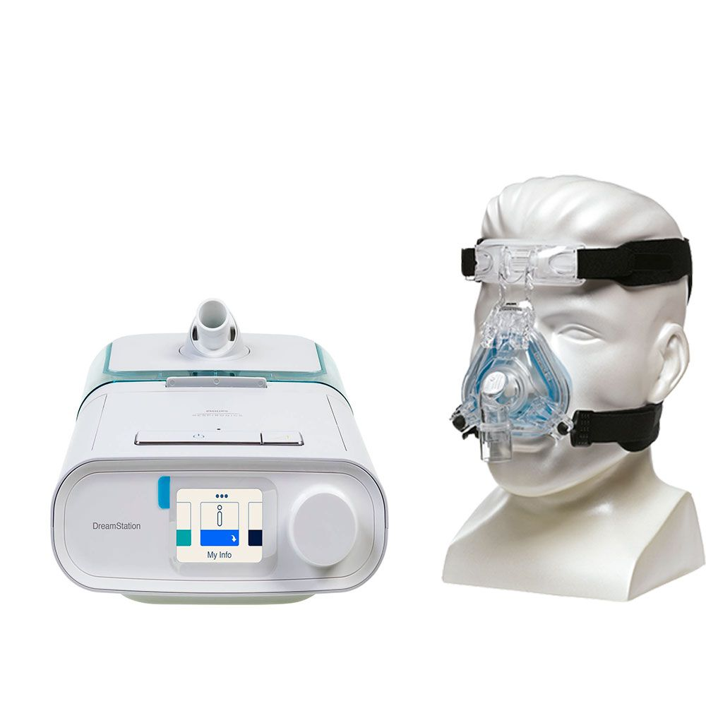 Kit CPAP Automático DreamStation + Umidificador + Máscara Nasal ComfortGel Blue