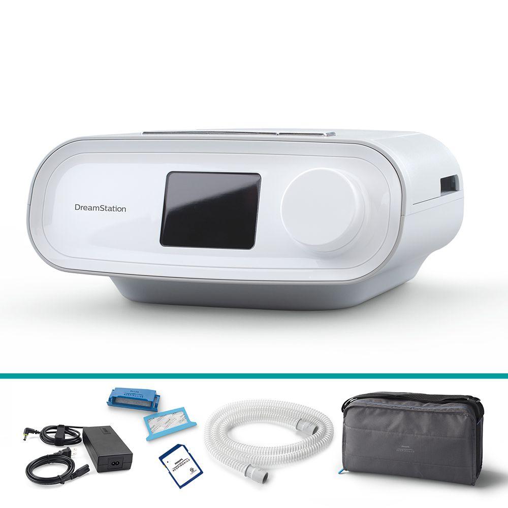 Kit CPAP Automático DreamStation + Umidificador + Máscara Nasal ComfortGel Blue
