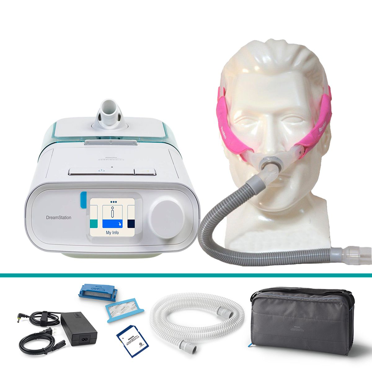 Kit CPAP Automático DreamStation + Umidificador + Máscara Nasal Swift FX For Her Resmed