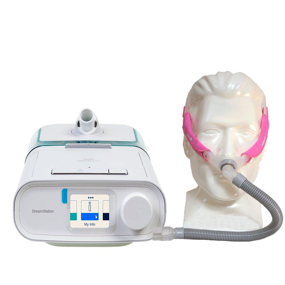 Kit CPAP Automático DreamStation + Umidificador + Máscara Nasal Swift FX For Her Resmed