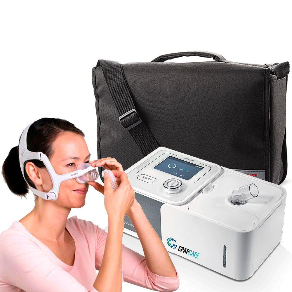 Kit CPAP Automático Yuwell + Umidificador + Máscara Nasal AirFit N20 For Her