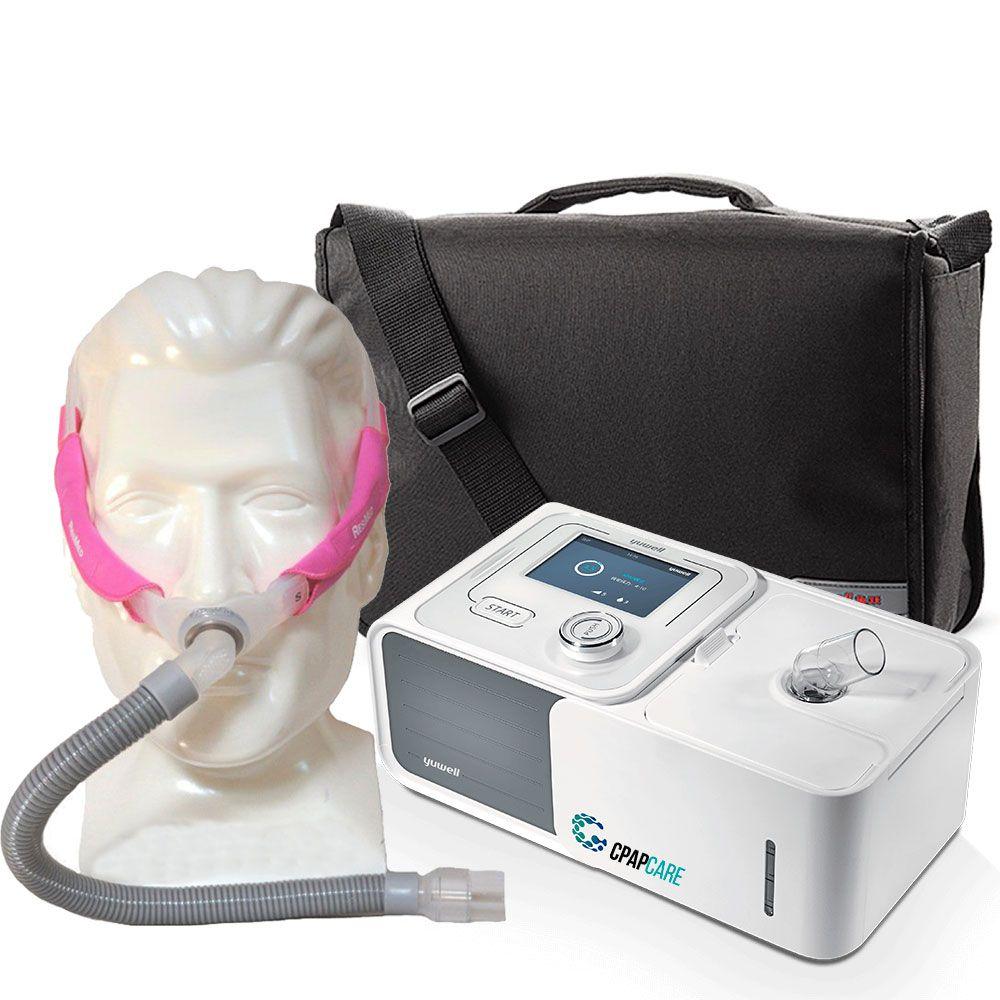 Kit CPAP Automático Yuwell + Umidificador + Máscara Nasal Swift FX For Her