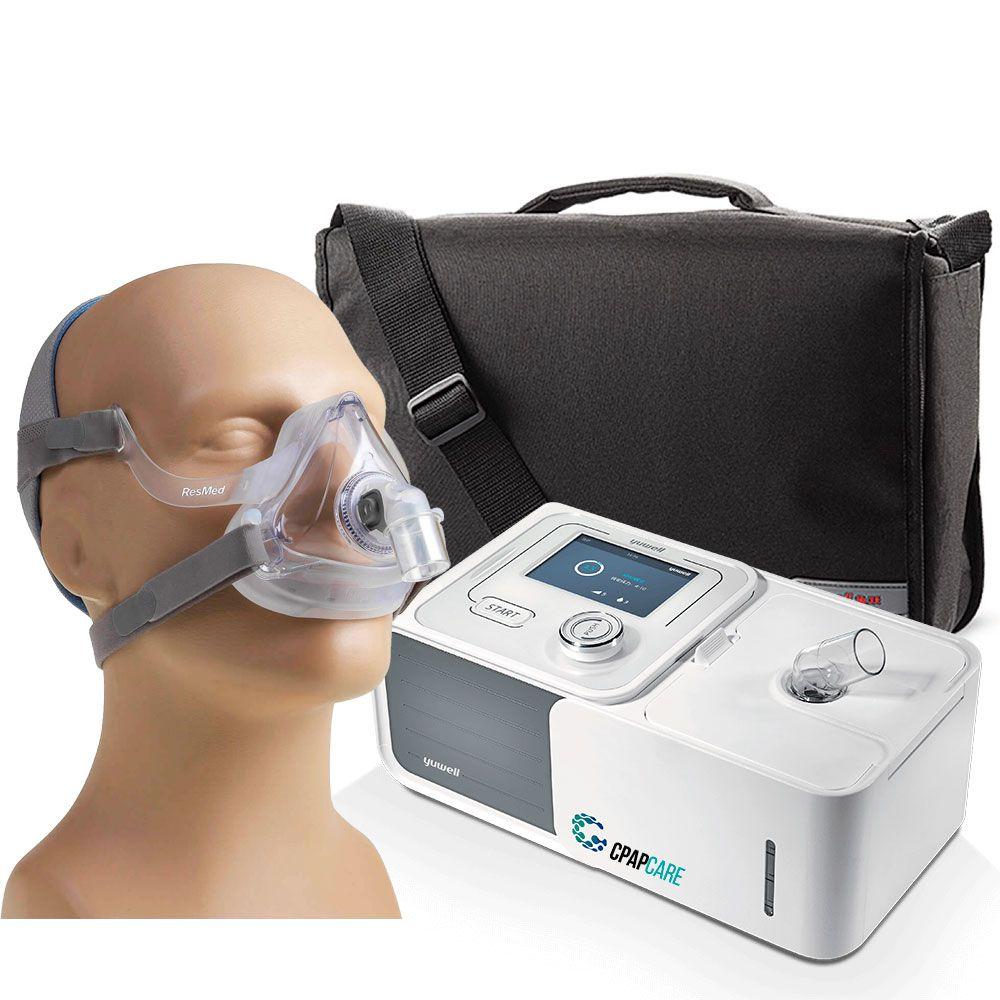 Kit CPAP Automático Yuwell + Umidificador + Máscara Oronasal AirFit F10