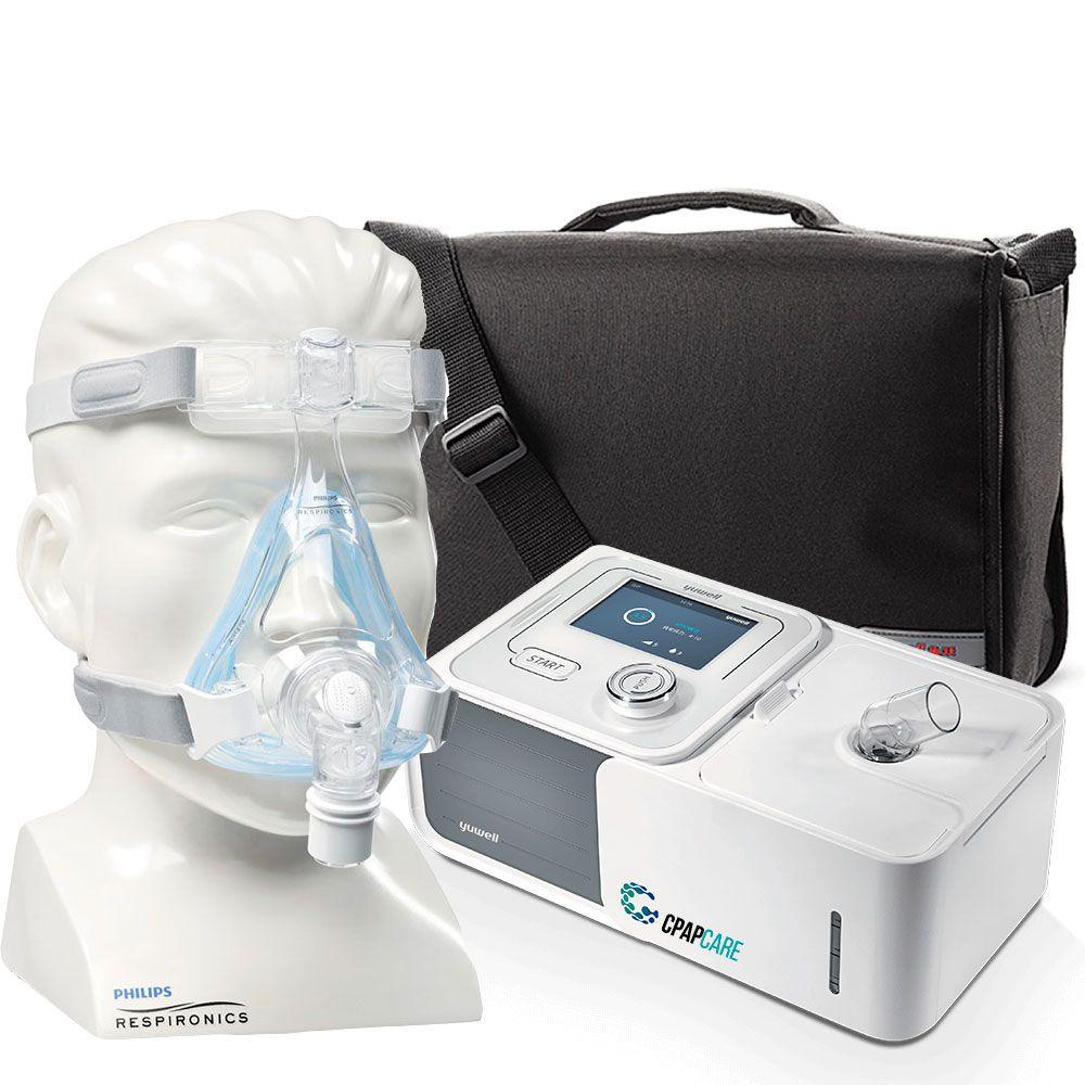 Kit CPAP Automático Yuwell + Umidificador + Máscara Oronasal Amara Gel