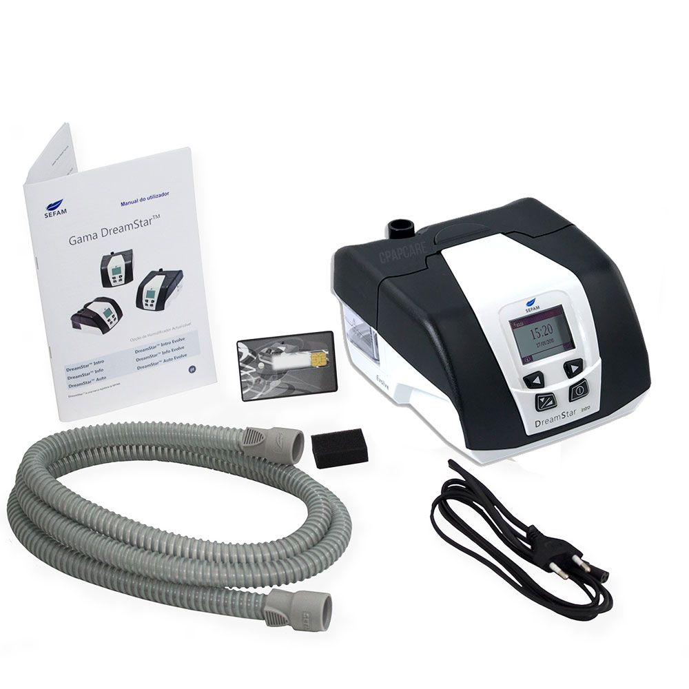 KIT CPAP DreamStar Intro + Umidificador + Máscara Nasal FeaLite Silicone