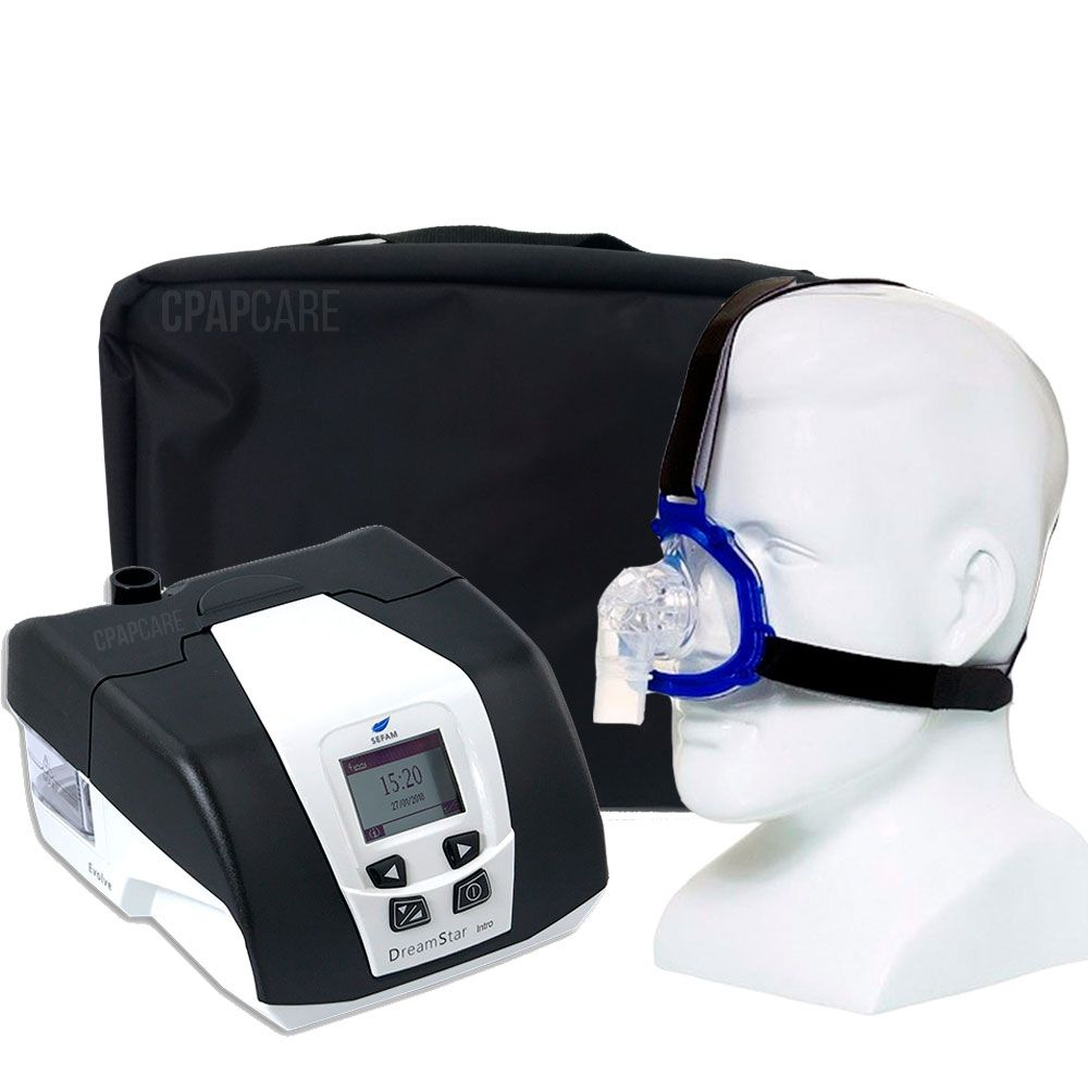 KIT CPAP DreamStar Intro + Umidificador + Máscara Nasal Meridian