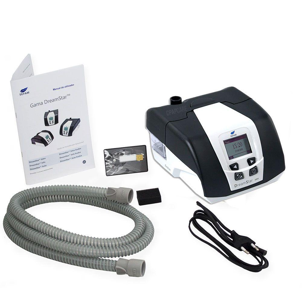 KIT CPAP DreamStar Intro + Umidificador + Máscara Nasal Tecido