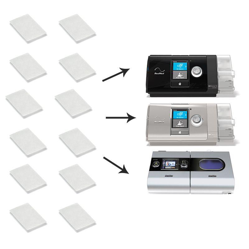 Kit de 12 filtros para CPAP S9, AirStart, AirSense 10 e VPAP AirCurve 10 - Nacional
