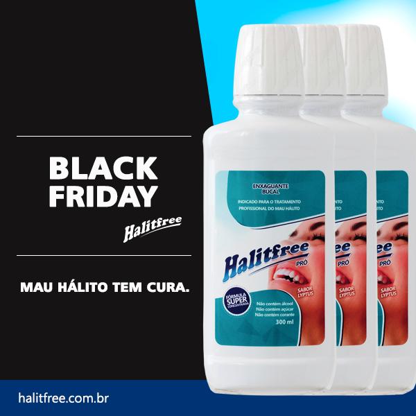 BLACK FRIDAY - COMBO 3 Unidades - Halitfree PRO 300ml - Enxaguante bucal sabor Lyptus