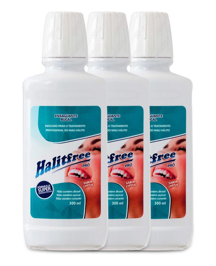 COMBO 3 Unidades - Halitfree PRO 300ml - Enxaguante bucal sabor Lyptus