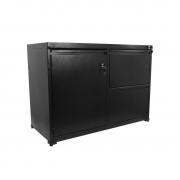 Armário de aço baixo preto Home Office com 1 porta e 2 gavetas chapa 26