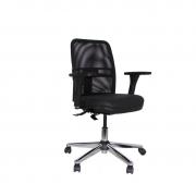 Cadeira giratória executiva NewNet 16003 cromada SRE braço regulável rod PU