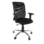 Cadeira giratória executiva Tela base cromada com braço regulável