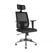 Cadeira giratória presidente Brizza Tela cromada com braços 3D e apoio para cabeça