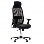 Cadeira presidente NewNet 16001 AC com sincronizado braço 3D apoio de cabeça e base cromada