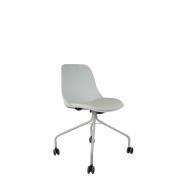 Cadeira Quick Secretária branca 4 pés com Rodízio e assento em Vinil